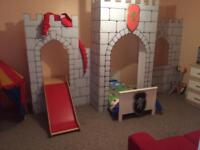 Kids castle, toddler bed, slide and duvet sets