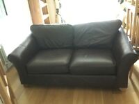 Brown leather M&S sofa. 'Abbey'