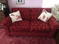 Pair of 2 seater red sofas