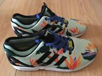 Size UK 10 Unisex floral Adidas ZX Flux. NEVER BEEN WORN WORTH £80 !!!