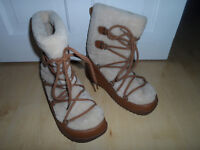 FITFLOP Superblizz Maple Tan Leather & FAUX FUR SNOW BOOTS SIZE 8 RRP £175