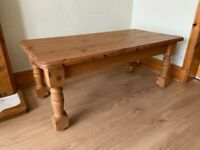 Large brown coffee WOODEN TABLE living room rustic solid thick legs rectangular