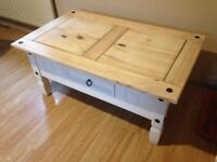 Mexican pine coffee table with storage