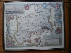 AN OLD FRAMED MIDDLESEX MAP 30X24 INCHES