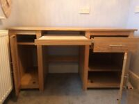 Light oak computer desk with pull out keyboard tray, 1 drawer, 2 cupboards