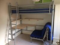 Jay-Be Highsleeper Child's bunkbed (includes mattress) with desk and stool