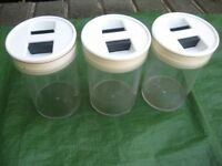 Three Plastic Food Storage Jars with Lift-Out Airtight Lids for £3.00