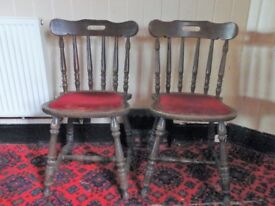 Two sturdy wooden kitchen chairs for upcycling