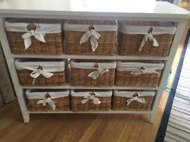 Cream chest of drawers with baskets