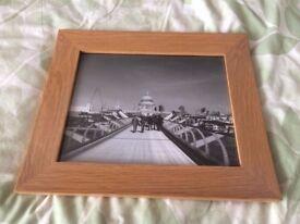 "Framed 10x8"" black and white photo print Millennium Bridge London"