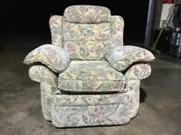 Armchair - fully reclinable floral fabric design - good condition
