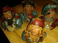 Set of 4 Authentic Pirate Heads