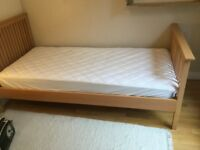 3ft wooden single bed and mattress