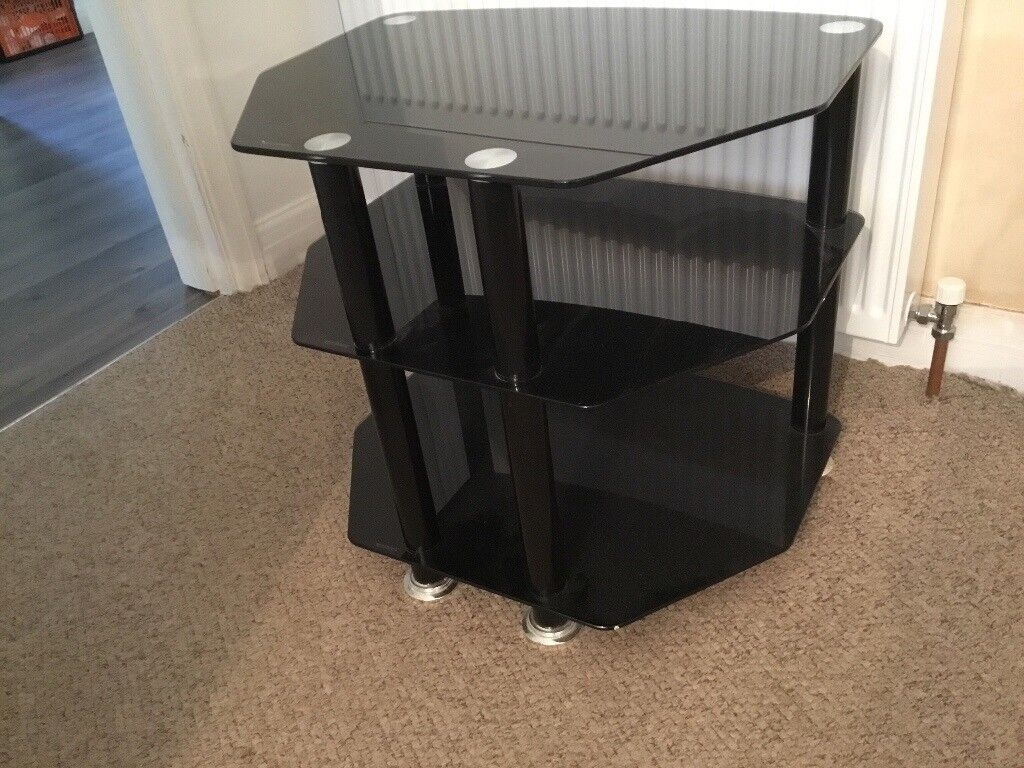 Black glass TV table.