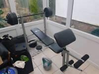Weights bench + weights