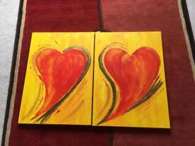 Pair of large heart wall canvases - art