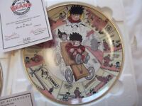 8 Beautiful Beano collector- Danbury Mint fine porcelain plates. (boxed with certificate)