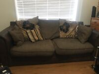 Brown 2 and 3 seater sofas