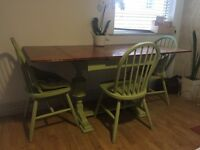 Beautiful shabby chic wooden table and chairs CHEAP for quick sale