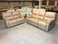 NEW FROM FABB SOFAS 3 and 2 SEATER SOFA CARAMEL BROWN REAL LEATHER MANUAL RECLINER THREE TWO 5