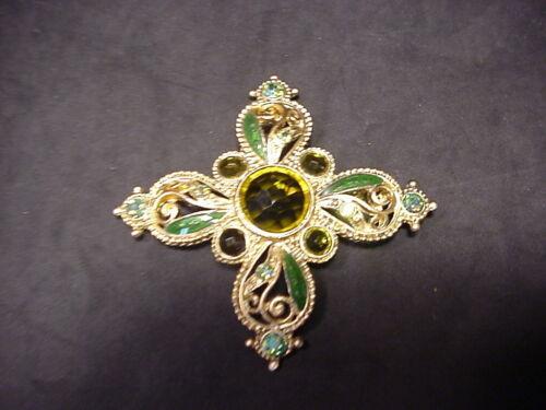 1928 Maltese Cross Pin Brooch Ornate Gorgeous Rhinestone & Enamel Green