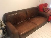2x brown leather sofas (1x3/4 seater and 1 x 2/3 seater)