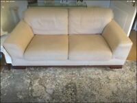Two seater and three seater cream sofas for sale