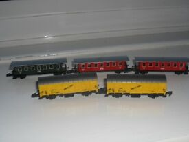 Z gauge model railway track and trains
