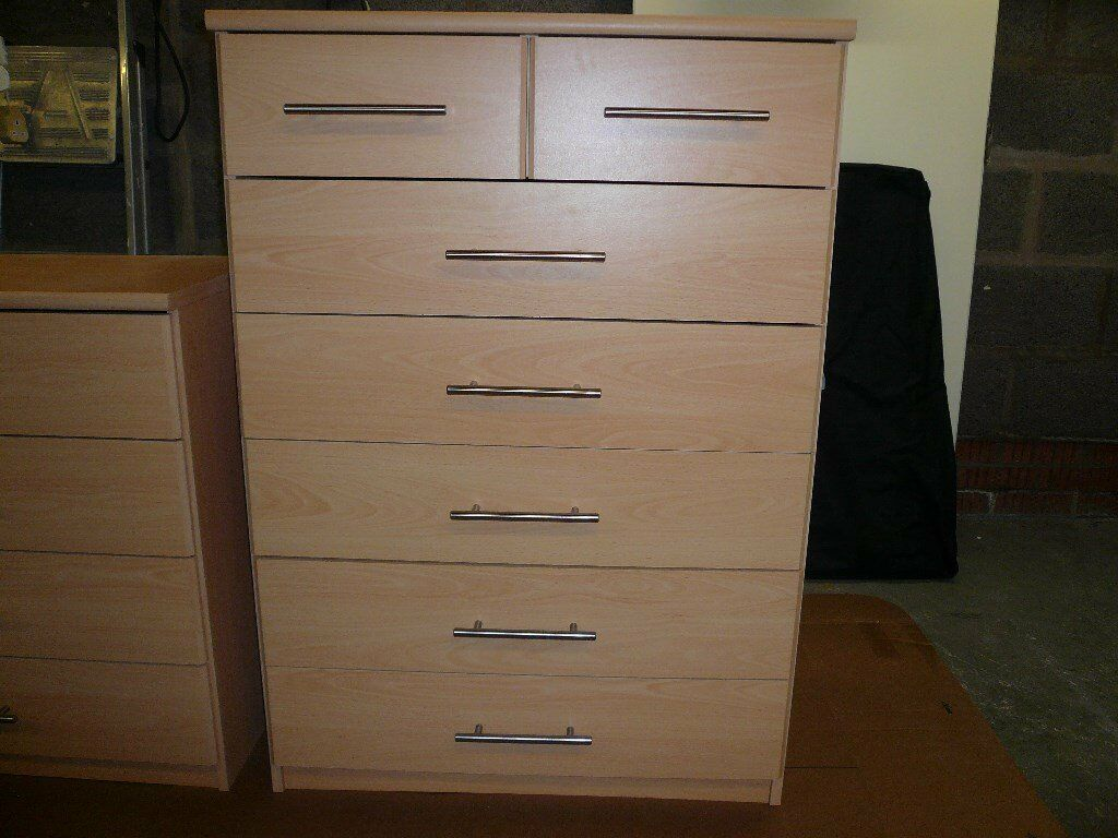 bedroom furniture beech finishin Shotts, North LanarkshireGumtree - bedroom furniture beech in colour good condition two 4 drawer and one 5 drawer with 2 small drawers small unit H 750MM W 750MM D 400MM large unit H 1080MM W750 MM D 400MM buyer uplifts