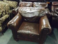 Brown leather 2 and 1 sofa set