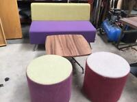 Soft furnishings,2/3 seater, 2 singles , low coffee table and one tall table matching all as new,