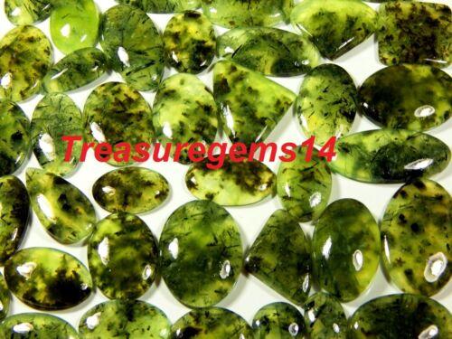 250 CT WHOLESALE LOT NATURAL DEEP APPLE GREEN RUTILE PREHNITE CABOCHON GEMSTONE