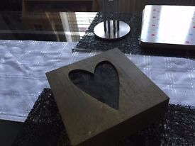 heart shaped wooden trinket or keepsake box for sale in cardiff