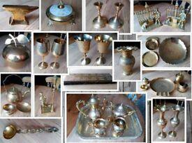 Huge Vintage Brass Bundle / Job Lot / Car Boot Re-Sale. Tea Sets, Goblets, Vases, Ornaments etc.