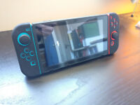 NINTENDO SWITCH NEON W/ CASE, 3 GAMES, SCREEN PROTECTOR, GRIPS & XBOX/PS CONTROLLER ADAPTER