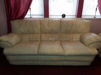 3 piece cream leather suite single seater is a recliner with some scratches nothing major problems