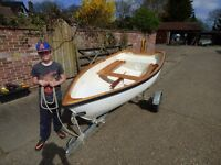 "9'6"" 2nd hand glass fibre rowing dinghy, takes 3 adults or 2+2, max 4hp outb'd, large buoyancy tanks"