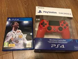 Brand new sealed red PS4 controller + FIFA 18