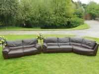 2 Large Natuzzi Leather Dark Brown Designer Sofas