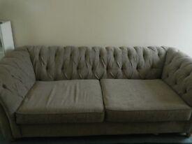 NEXT 3 Seater Chesterfield Sofa Chenille Fabric ONO QUICK SALE