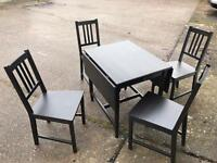 Ikea Black Table & x4 Chairs
