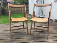 Fold up wooden chairs x2 vintage