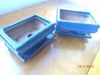 2 x Bonsai Pots with Bases in Dark Blue Glazed Finish