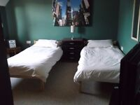 large twin room with couch and sky flatscreen tv