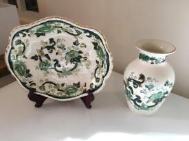 Mason green chartreuse plate & vase set