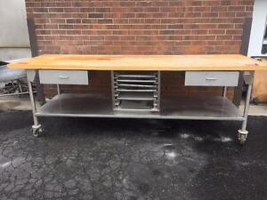 Wood Top Baker's Table with Stainless Steel Base with  2 Drawers