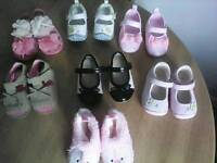 Selection of brand new baby shoes