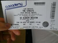 ONE TICKET The Streets @ Brixton Academy Thursday 26th April STALLS STANDING