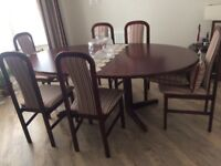 Danish mahogany extending dining table & 6 chairs
