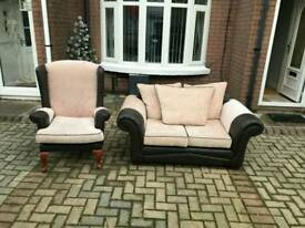 2 Seater Sofa In Brown Leather And Cream Fabric Matching Queen Ann Wing Back Armchair